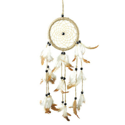 Handmade Brown Dream Catcher w/ Feathers Beads Kids Room Hanging Decoration