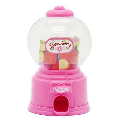 Kids Pink Candy Machine Piggy Gumball Saving Coin box Retro Sweets Mini