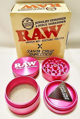 Pink RAW Rolling Papers Santa Cruz Tobacco Shredder 4 Piece Grinder Made in USA