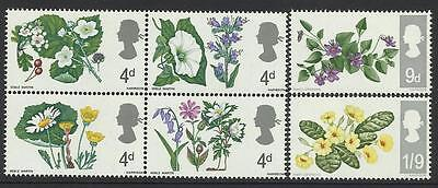 GREAT BRITAIN 1967 FLOWERS Set of 6 values (PHOSPHOR BANDS) MNH