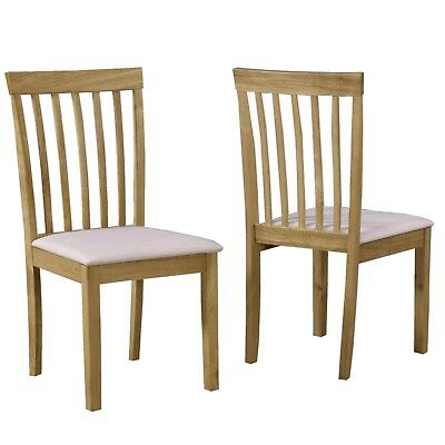 Pair of Solid Oak Cream Dining Chairs