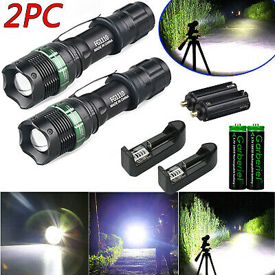 2Sets Tactical Police 15000lm Ultrafire T6 5 Modes LED Flashlight +18650+Charger