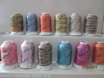 1000YRD Mini King spools,  NEW MULTICOLOURS VARIEGATED MACHINE EMBROIDERY