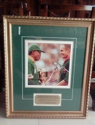 Nelson Mandela and Francois Pienaar Signed Picture with COA