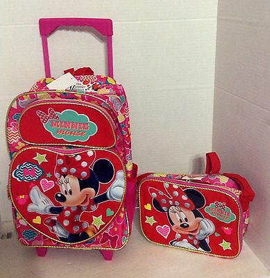 92125a63d1b Minnie Mouse  ROLLING BACKPACK   LUNCH BOX SET! HEART RED STARS ROLLER ...