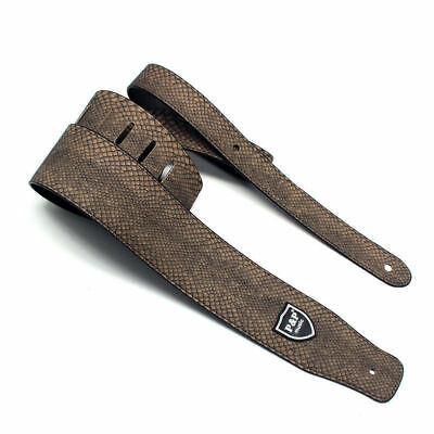 Guitar Strap Leather Embossed Snake Pu Adjustable Acoustic Electric Bass Brown