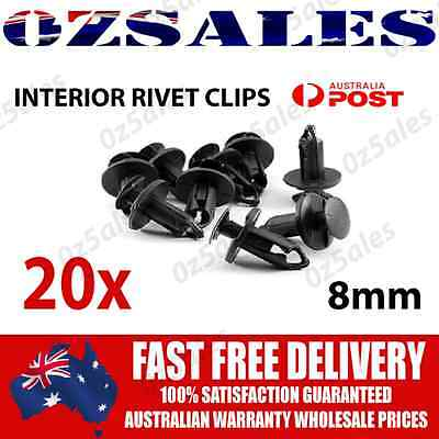 20X Car Plastic 8MM Clips Rivet Push fit Boot Trim Panel Pin Fender Fastener