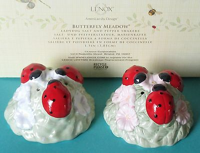 Lenox Butterfly Meadow Ladybug Salt and Pepper Shakers NEW in box