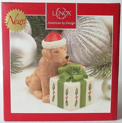 Lenox Holiday Christmas DOG PRESENT Lab Salt and Pepper Shakers NEW in box
