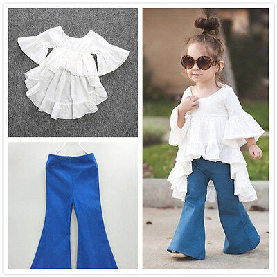2PCS Toddler Kids Baby Girls Outfits Cotton Tops+Denim Flared Pants Clothes lot