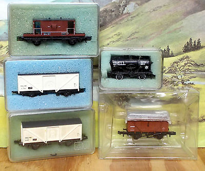 """Five Assorted N Scale Wagons, Peco And Graham Farish, """"as New"""""""