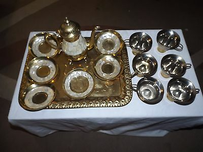 Vintage Brass & Mother Of Pearl Coffee Tea Set 6 settings Cups Saucers Pot tray
