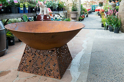 Steel Outdoor Garden Patio Wood Fire Bowl Pit Stand Pattern Filigree Rust Heater