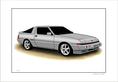 Mitsubishi  Starion  Turbo     Limited Edition  Car Print  Automotive Artwork