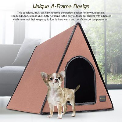 MINDKOO Electric A-Frame Heated Kitty House Cat Waterproof Warm Shelter Outdoor