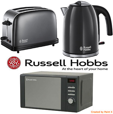 Grey Stainless Steel Russell Hobbs Microwave Kettle & Toaster Kitchen Bundle Set