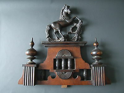 Vintage wooden wall clock pediment with horse to the top for restoration