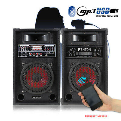 "Pair 8"" Speakers Active Home DJ Karaoke Party Set USB Bluetooth Mic Input 600W"