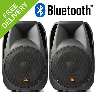 """2x PDA-12ABT 12"""" Inch Active Powered DJ Disco Party PA Bluetooth Speakers 2000W"""