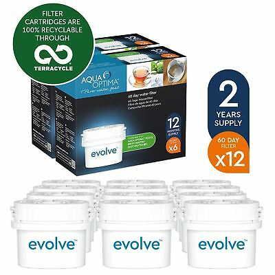 12 Aqua Optima Evolve 60Day Water Jug Refill Filter fit BRITA MAXTRA 2 Year Pack
