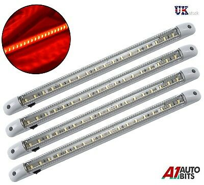 4X Red Led 24V Interior Light Lamp 400Mm On/off Switch Truck Lorry Scania Volvo