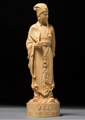 D005 - 15*4.5*4 CM Carved Boxwood Carving Figurine : Zhu Ge Liang