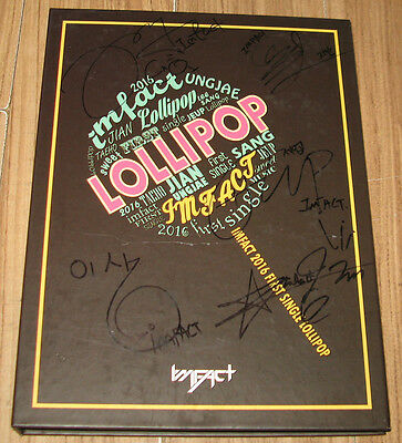 IMFACT LOLLIPOP 1st Single REAL SIGNED AUTOGRAPHED PROMO CD + UNG JAE PHOTOCARD1