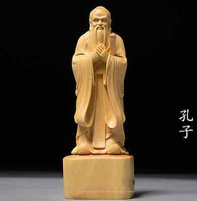 D006 - 15.5*5.5*4.5 CM Carved Boxwood Carving Figurine : Confucius Kong Zi
