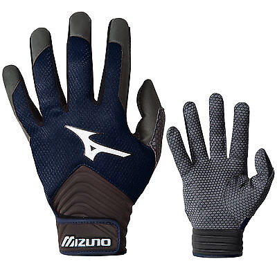 Mizuno MVP Men's Baseball Batting Gloves - Navy - Large
