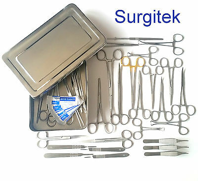Suture Kit, Suture Set,suture Pack, Veterinary 44 Pcs Surgical Instruments+Box