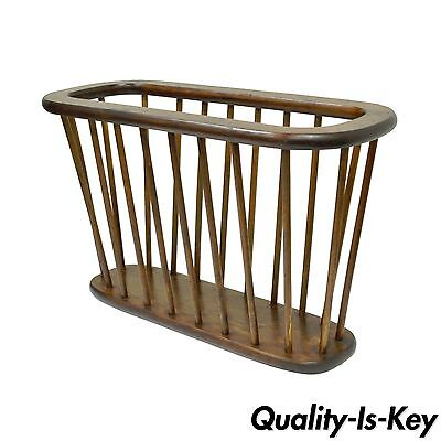 Vintage Mid Century Danish Modern Spindle Teak Oval Magazine Rack Stand Holder B