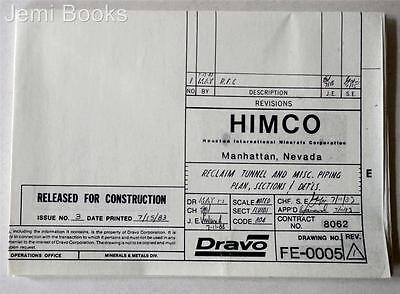 HIMCO Engineering Blueprint Drawing FE-0005 Reclaim Tunnel Piping Plan 1983 VG