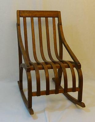 Beautiful vintage Folk art all wood bent Oak hand made child's rocking chair!