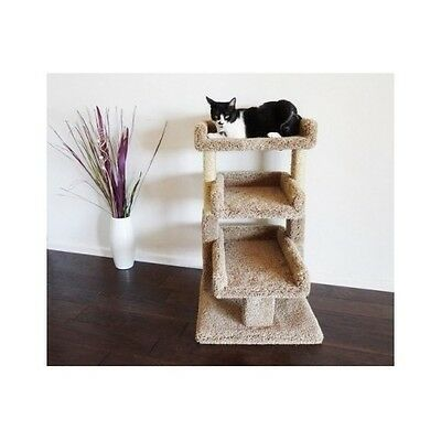 Cat Tree Perch Condo Pad Kitty Scratch 3 Tier Post Plush Carpet House Furniture