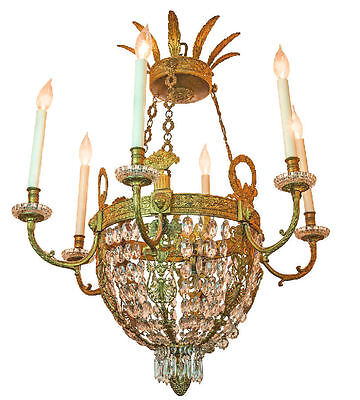 Antique English Regency Style Gilt Bronze and Crystal Chandelier