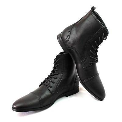 New Men's Black Cap Toe Boots Detailed Perforation Dress Shoes  Oxfords By Azar
