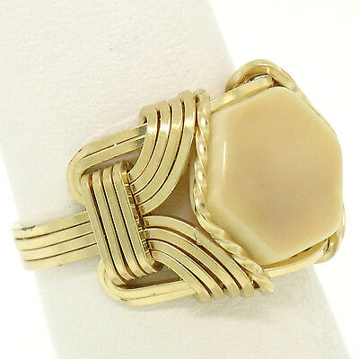 Vintage Hand Made 14k Yellow Gold Hexagon White Coral & Wrought Gold Wire Ring