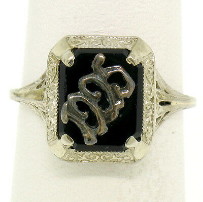 1925 Antique Art Deco 14k White Gold Prong Set Black Onyx Filigree Dinner Ring