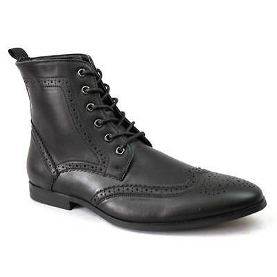 Men's Black Wing Tip Brogue Toe Dress Boots Lace up Modern Oxfords Shoes By AZAR