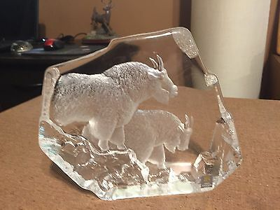MATS JONASSON full lead crystal of two mountain sheep