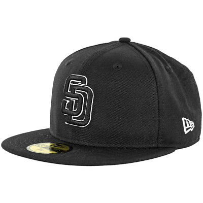 NEW ERA 59FIFTY San Diego Padres BK BK WH Fitted Hat (Black White ... 339aa3cf11c0