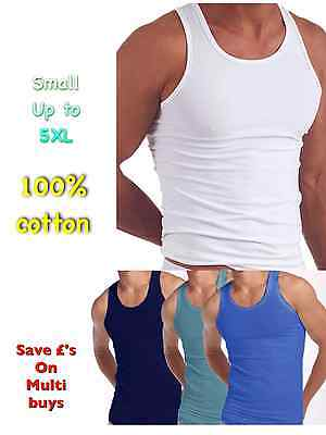 MENS VESTS 100% Cotton TANK TOP SUMMER TRAINING GYM TOPS WHITE MIX BLUE 3 6 12