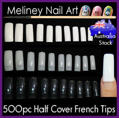 500Pc Half Cover French Tips Full Well False Nails Gel Art Acrylic Long Nail