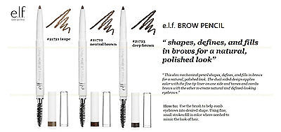 e.l.f. BROW PENCIL #21721 Taupe #21722 Neutral Brown #21723 Deep Brown NEW