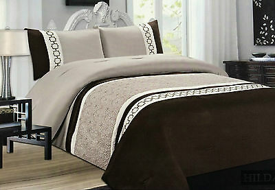 New 3pcs Cotton Embriodered Quilted Bed Spread / Comforter Set Double & King