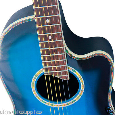 Coban Electro 4EQ Blueburst Acoustic Round back Guitar Luxury 20mm Gig Bag Pack