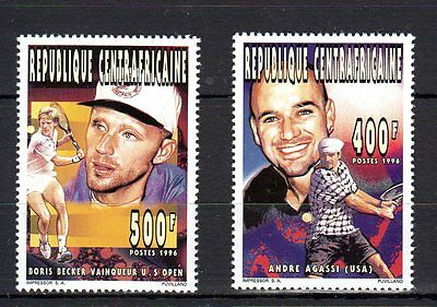 Central African Rep. 1996 Famous People Decker Agassi Sport MNH