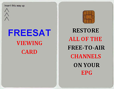 FREESAT VIEWING CARD ACTIVATED FOR PLUS AND HD UK + Free post