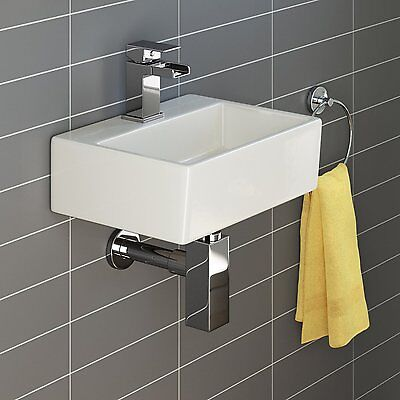 Basin Sink Square Wall Hung Small Ceramic Cloakroom Compact Bathroom 330mm