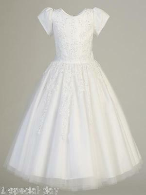 Angelique White Beaded Satin And Tulle Communion Dress In Stock